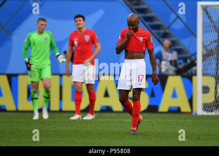 St. Petersburg, Russland. 14th July, 2018. Fabian DELPH (ENG) after versustor, disappointment, frustrated, disappointed, frustrated, dejected, action. hi: Goalkeeper Jordan PICKFORD (ENG), Harry MAGUIRE (ENG). Belgium (BEL) - ENGLAND (ENG) 2-0, match 63, match for 3rd place, on 07/14/2018 in Saint Petersburg, Arena Saint Petersburg, Football World Cup 2018 in Russia from 14.06. - 15.07.2018. | usage worldwide Credit: dpa/Alamy Live News - Stock Photo