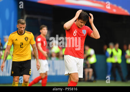 St. Petersburg, Russland. 14th July, 2018. Harry MAGUIRE (ENG), disappointment, frustrated, disappointed, frustrated, dejected, action. Belgium (BEL) - ENGLAND (ENG) 2-0, match 63, match for 3rd place, on 07/14/2018 in Saint Petersburg, Arena Saint Petersburg, Football World Cup 2018 in Russia from 14.06. - 15.07.2018. | usage worldwide Credit: dpa/Alamy Live News - Stock Photo