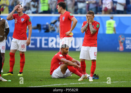 St. Petersburg, Russland. 14th July, 2018. v.re: Kieran TRIPPIER (ENG), Ruben LOFTUS-CHEEK (ENG), Harry MAGUIRE (ENG), Phil JONES (ENG), disappointment, frustrated, disappointed, frustrated, dejected, action. Belgium (BEL) - ENGLAND (ENG) 2-0, match 63, match for 3rd place, on 07/14/2018 in Saint Petersburg, Arena Saint Petersburg, Football World Cup 2018 in Russia from 14.06. - 15.07.2018. | usage worldwide Credit: dpa/Alamy Live News - Stock Photo