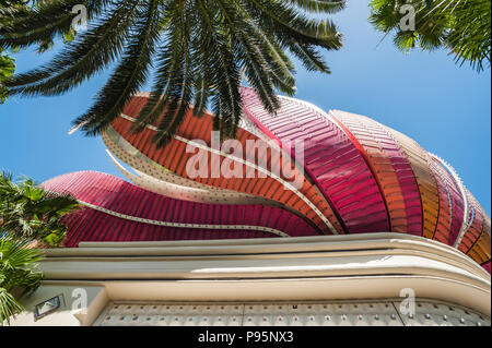 Las Vegas, Nevada, United States - May 27, 2013: Close-up of the neon sign above the main entrance to the landmark Flamingo Hotel and Casino. - Stock Photo