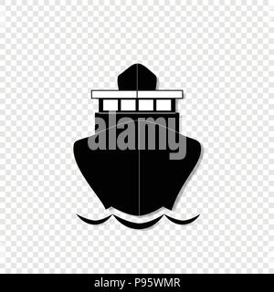 Vector black and white monochrome silhouette illustration of sailing ship front view icon isolated on transparent background. - Stock Photo