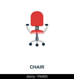 Chair flat icon. Premium style flat icon design. UI. Illustration of chair flat icon. Pictogram isolated on white. Ready to use in web design, apps, s - Stock Photo