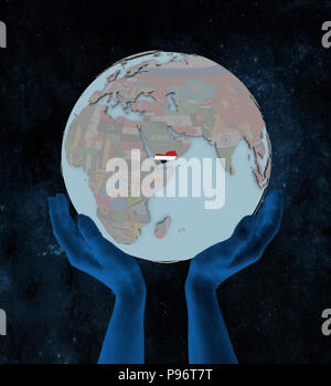 Yemen with flag on globe in hands in space. 3D illustration. - Stock Photo