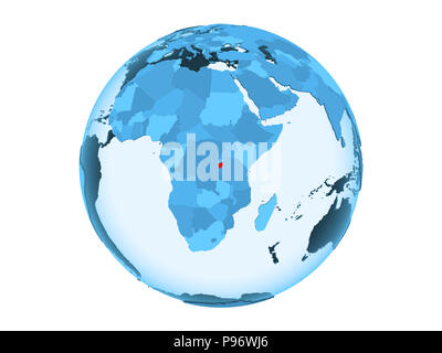 Burundi highlighted in red on blue political globe with transparent oceans. 3D illustration isolated on white background. - Stock Photo