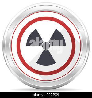 Radiation silver metallic chrome border round web icon on white background - Stock Photo