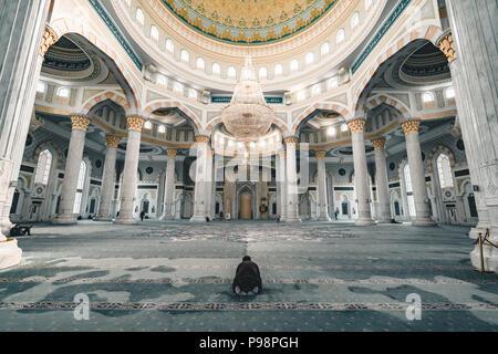 Hazrat Sultan Mosque inside prayer room Astana Kazakhstan - Stock Photo