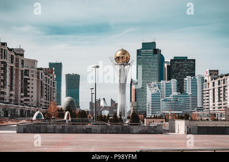 The Bayterek Tower, a landmark observation tower designed by architect Norman Foster in Astana, the capital of Kazakhstan. - Stock Photo