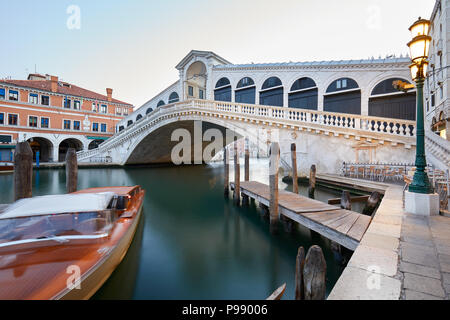 The Grand Canal and Rialto bridge in the early morning, nobody in Venice, Italy - Stock Photo