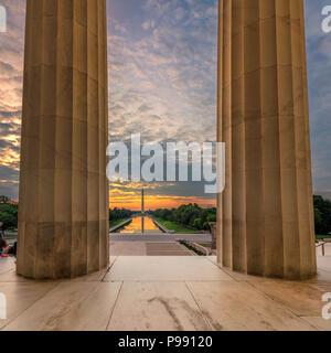 Sunrise at Lincoln Memorial in Washington DC - Stock Photo