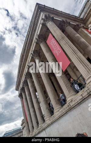 LONDON, ENGLAND - JUNE 16 2016: The National Gallery on Trafalgar Square, London, England, United Kingdom - Stock Photo