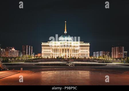 Night view of Presidential palace 'Ak-Orda' in Astana, Kazakhstan - Stock Photo