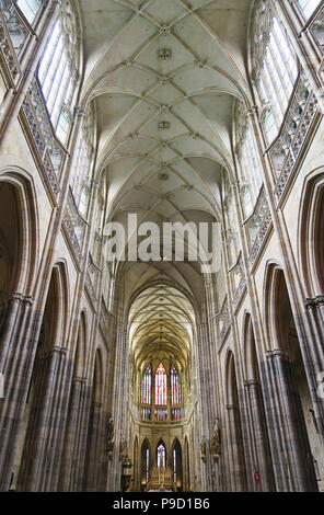 Interior of the St Vitus Cathedral in Prague - Stock Photo