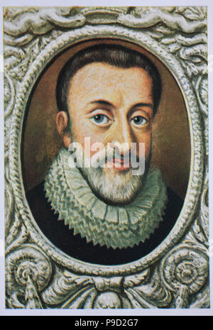 Henry IV, Henri IV, read as Henri-Quatre; 13 December 1553 – 14 May 1610, also known by the epithet Good King Henry, was King of Navarre from 1572 to 1610 and King of France from 1589 to 1610, digital improved reproduction of an original print from the year 1900 - Stock Photo