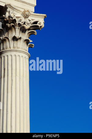 Classical architcture in Venice. Corinthian column and capital from St Nicholas of Tolentino Church, erected in the 18th centry (with copy space) - Stock Photo
