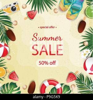 Summer sale beautiful web banner. Vector stock illustration with ice cream, tropical leaves, limes, flip flops. - Stock Photo