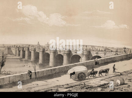 Madrid, Toledo bridge on the river Manzanares in 1842, Baroque (churrigueresco), built between 17… - Stock Photo