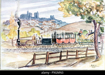 The inaugural train of the line from Madrid to Zaragoza in 1859, passing by Siguenza, drawing by … - Stock Photo