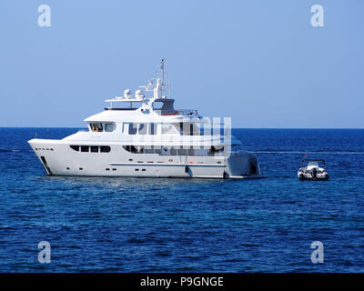 The Super yacht Badido 90 at anchor in San Antonio Bay, Ibiza, Balearic Islands, spain - Stock Photo