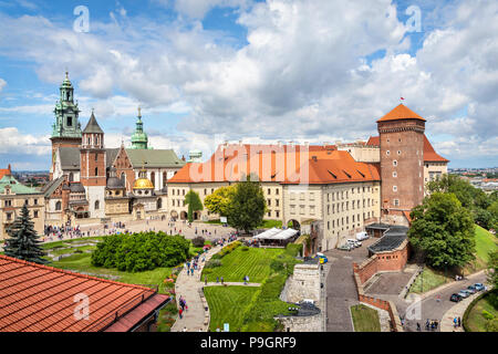Wawel Royal Castle and Cathedral in Krakow, Poland - Stock Photo