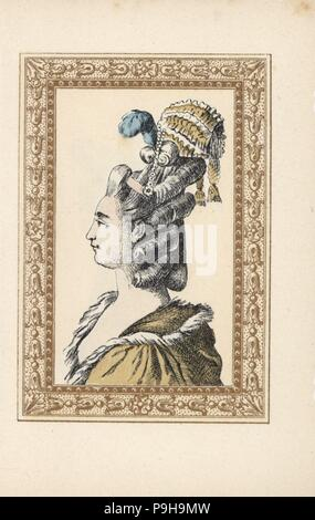Woman in hairstyle with ringlets, plumes and miniature bonnet called Feelings Returned. Coiffure aux sentiments replies. Handcoloured lithograph by de Laubadere from Octave Uzanne's Stylish Hairstyle or Eccentric Finery from the era of King Louis XVI, Coiffures de Style, la Parure Excentrique, Rouveyre, Paris, 1895. - Stock Photo