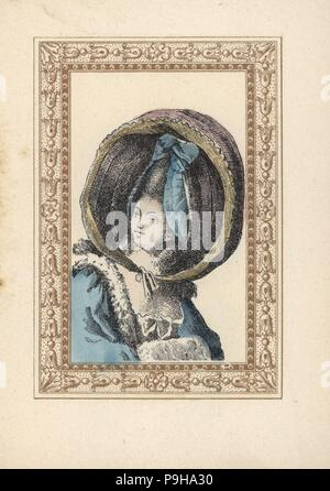 Woman in a round bonnet with ribbon rosette and two ringlets. The bonnet is called a turned-up calash, Caleche retroussee, after the carriage with a folding top. Handcoloured lithograph by de Laubadere from Octave Uzanne's Stylish Hairstyle or Eccentric Finery from the era of King Louis XVI, Coiffures de Style, la Parure Excentrique, Rouveyre, Paris, 1895. - Stock Photo