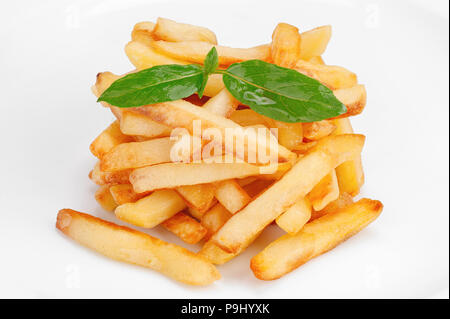 Heap of crispy fried potato, french fries on white background - Stock Photo