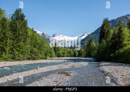 Riverbed of the Trettach south of Oberstdorf - Stock Photo