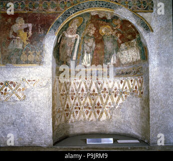Detail of mural paintings in the Archpriest Church of Sant Esteve (Andorra la Vella). - Stock Photo
