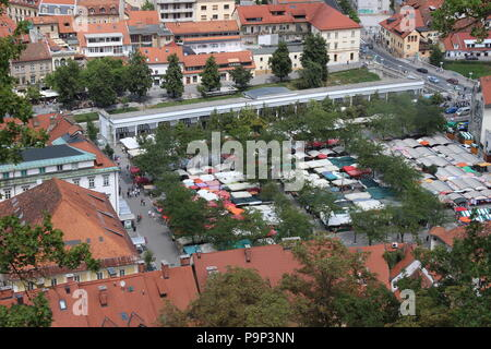 An overview of the central market of Ljubljana - Stock Photo