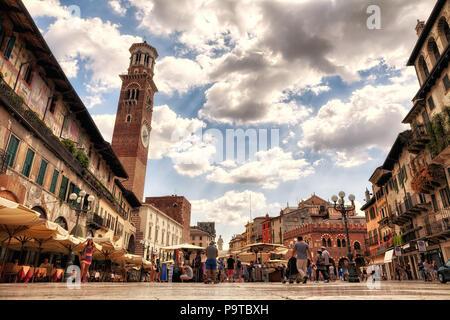 Piazza delle Erbe, Verona - Italy - Stock Photo