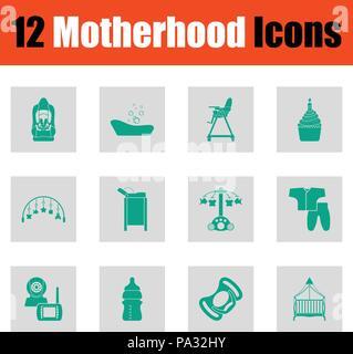 Motherhood icon set. Green on gray design. Vector illustration. - Stock Photo