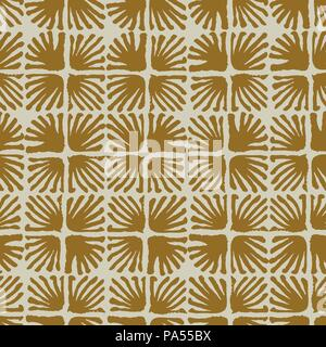 Vector seamless floral square tile brown pattern - Stock Photo