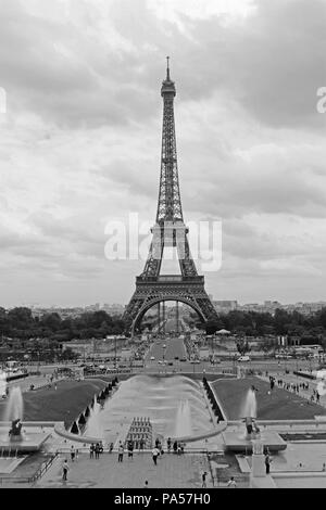 Shot of the Eiffel Tower and the Fountain of Warsaw - Stock Photo