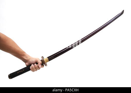 sword - knife on hand isolated in white background - Stock Photo