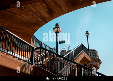 Public Stairway to access Blackfriars Bridge, London, England - Stock Photo