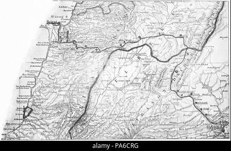 193 Beirut-Damaskus Streckenkarte - Stock Photo