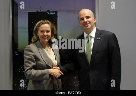 Buenos Aires, Argentina. 21st July, 2018. The Spanish Finance Minister Nadia Calvino (L) greets the Secretary of Finance and Public Credit of Mexico Jose Antonio Gonzalez Anaya (R), after a bilateral meeting in Buenos Aires, Argentina, 21 July 2018. The meeting is part of the meeting of finance ministers of the G20. Credit: Pablo Ramon/EFE/Alamy Live News - Stock Photo