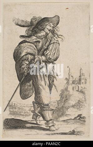 Gentleman Holding a Sword. Artist: Anonymous, French, 17th century; After Abraham Bosse (French, Tours 1602/1604-1676 Paris). Dimensions: Sheet (trimmed): 5 5/8 × 3 11/16 in. (14.3 × 9.3 cm). Series/Portfolio: Le Jardin de la noblesse française. Date: 1629. Museum: Metropolitan Museum of Art, New York, USA. - Stock Photo
