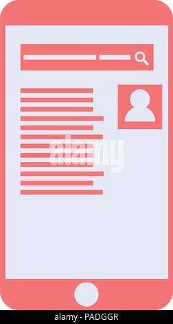 Mobile phone with search page on a white background - Stock Photo