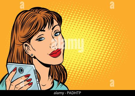 woman looking in smartphone - Stock Photo