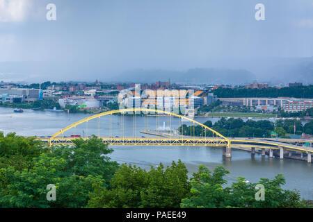 Fort Pitt Bridge, in Pittsburgh, Pennsylvania - Stock Photo