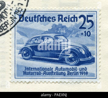 German historical stamp:  concept car Volkswagen 'International auto and motor show in Berlin (IAA) 1939' with special cancellation, DR, third Reich - Stock Photo