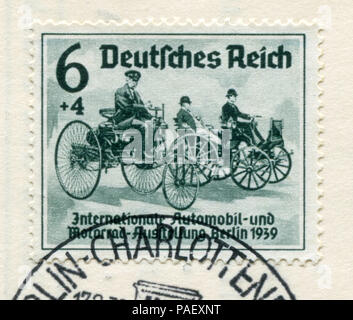 German historical stamp:  The first cars of Karl Benz and Gottlieb Daimler. 'International auto and motor show in Berlin (IAA) 1939' fdc, Germany - Stock Photo