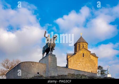The Metekhi Church and the equestrian statue of King Vakhtang Gorgasali, Tbilisi, Georgia - Stock Photo