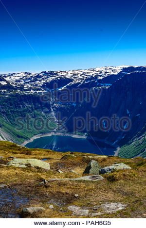 View of Holmavatnet lake about 2 kilometres from summit of Trolltunga in Norway - Stock Photo