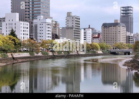 Hiroshima city in Chugoku region of Japan (Honshu Island). Modern skyscraper skyline. - Stock Photo