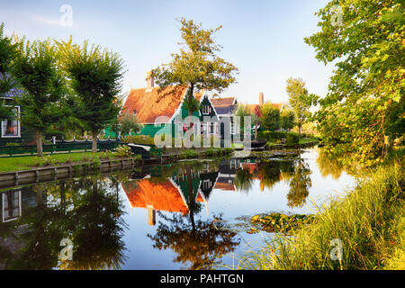 Traditional house at the historic village of Zaanse Schans, Netherlands - Stock Photo