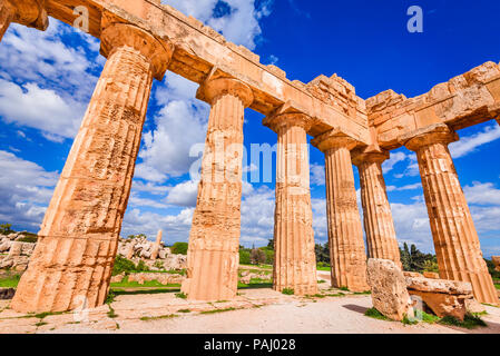Sicily, Italy. Selinunte, ancient Greek temple of Hera ruins of Doric style architecture. - Stock Photo