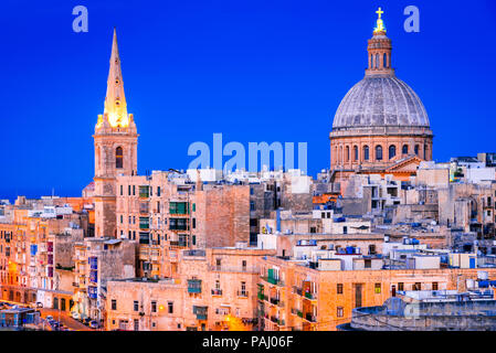 Malta nightview of Marsamxmett Harbour and Silema city, Valletta. - Stock Photo