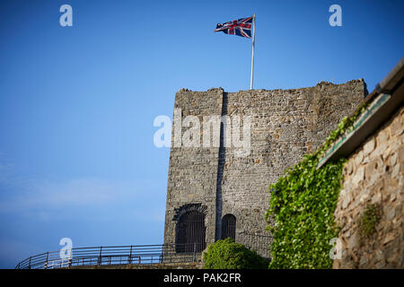 Clitheroe Borough of Ribble Valley Lancashire  The keep at Clitheroe Castle with union flag flying Grade I listed landmark on limestone crag - Stock Photo